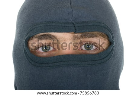 Person in mask close up on a white background