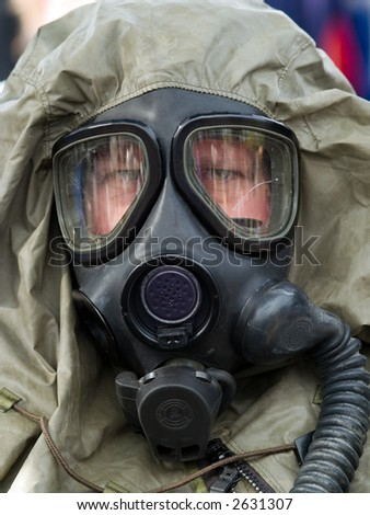 person is gasmask - stock photo