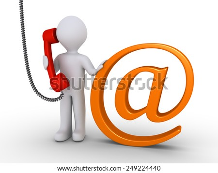 Person is holding phone receiver and is next to an e-mail symbol - stock photo