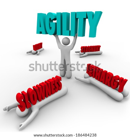 Person Lifting Agility Word Fast Action Change Adapting - stock photo