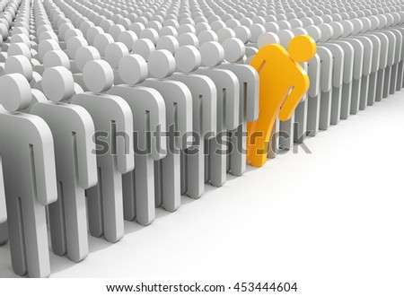 Person looks out from the crowd. 3d illustration - stock photo