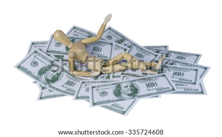 Person lying back on a pile of money in the form of many large bills - path included - stock photo