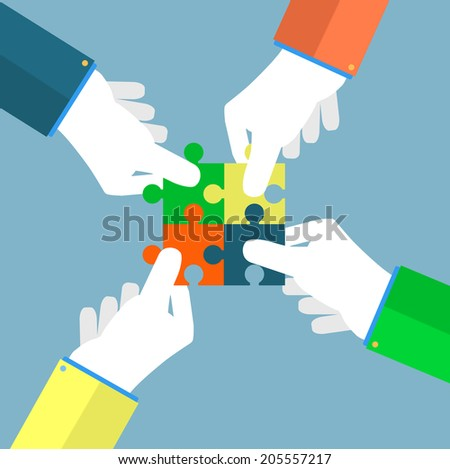 Person making a puzzle. A hand puts proper puzzle. Businessman assembling jigsaw puzzle. Business concept. Raster version
