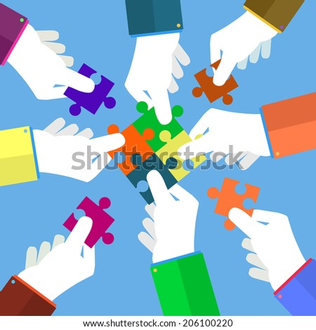 Person making a puzzle. A hand puts proper puzzle. Businessman assembling jigsaw puzzle. Business concept. Raster version - stock photo
