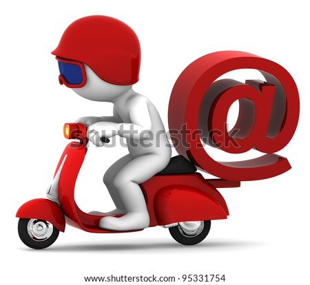 Person on scooter wit e-mail symbol. E-mail delivery concept. Isolated on white background - stock photo