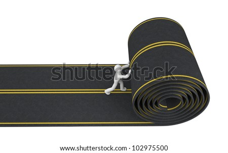 Person paves road - stock photo