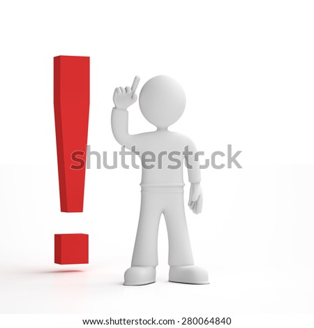 Person pointing his finger in the air next to an exclamation mark, white background, 3D render - stock photo