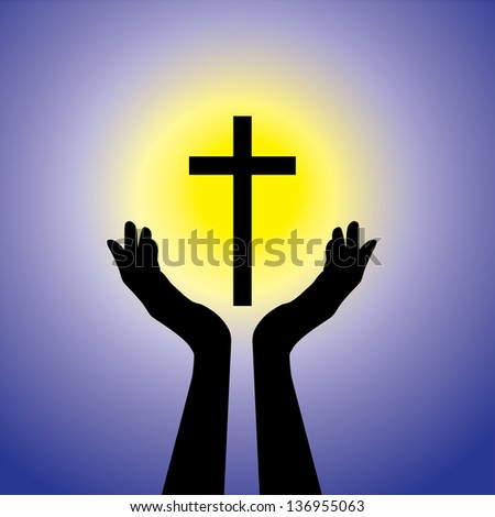 Person praying or worshiping to crucifix or Jesus - conceptual graphic illustration of a devout faithful christian worshiping holy cross(Christ) with blue background and yellow sun