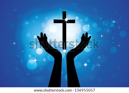 Person praying or worshiping to holy cross or Jesus - conceptual graphic illustration of a devout faithful christian worshiping Son of Lord(Christ) with blue background of stars and circles