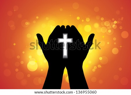 Person praying or worshiping with cross in hand - conceptual graphic illustration of a devout faithful christian worshiping Jesus Christ with yellow and orange background of stars and circles