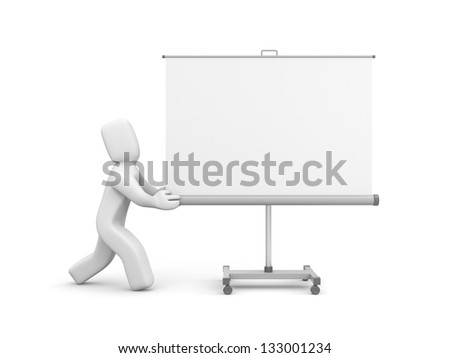 Person push projection screen or whiteboard - stock photo