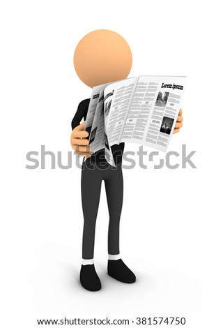Person reading newspaper on white background