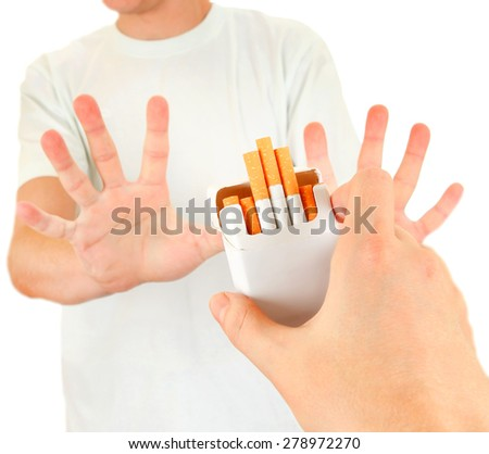 Person refuse Cigarettes Isolated on the White Background