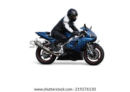 Person riding on motorbike over white background - stock photo