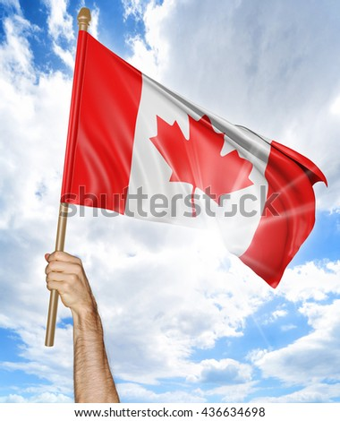 Person's hand holding the Canadian national flag and waving it in the sky, part 3D rendering - stock photo