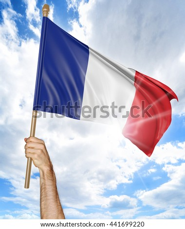 Person's hand holding the French national flag and waving it in the sky, 3D rendering - stock photo