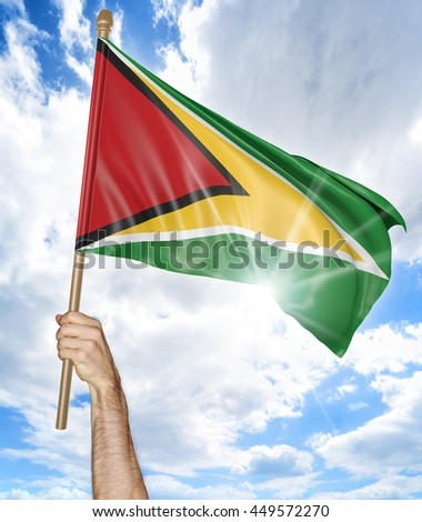 Person's hand holding the Guyanese national flag and waving it in the sky, 3D rendering - stock photo