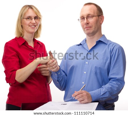 Person signing of an agreement - stock photo
