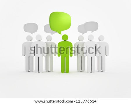 Person silhouette and speech bubbles - stock photo