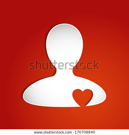 Person silhouette with heart cut out concept icon. Raster version. - stock photo
