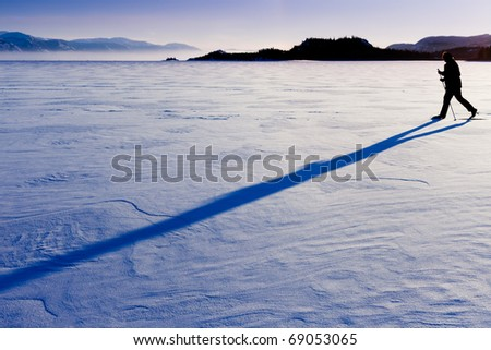 Person skiing on cross-country skis casts long shadow on untouched powder snow. - stock photo
