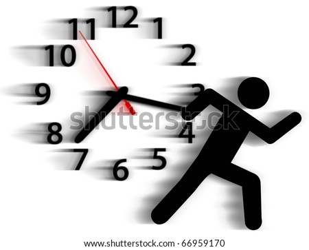 Person symbol in a rush runs against a clock in a race with time - stock photo