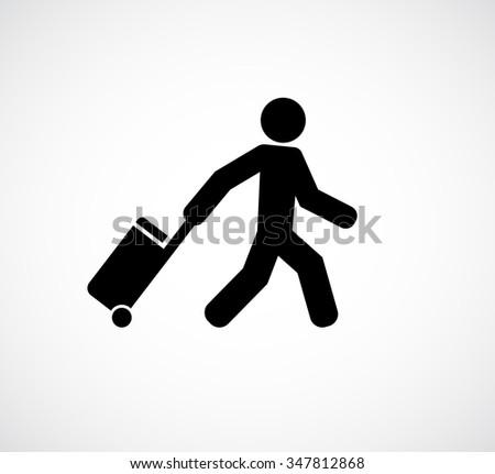 person tourist traveler with suitcase icon - stock photo