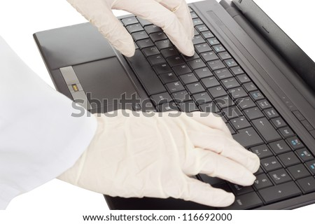 Person typing on the computer - stock photo