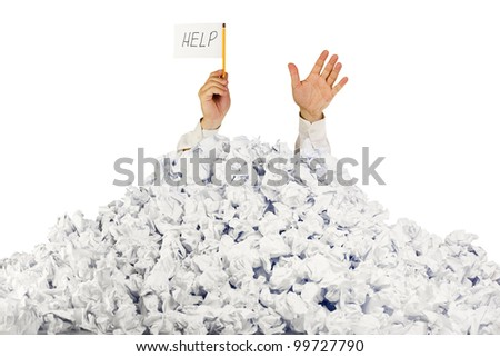 Person under crumpled pile of papers with hand holding a help sign / isolated on white - stock photo