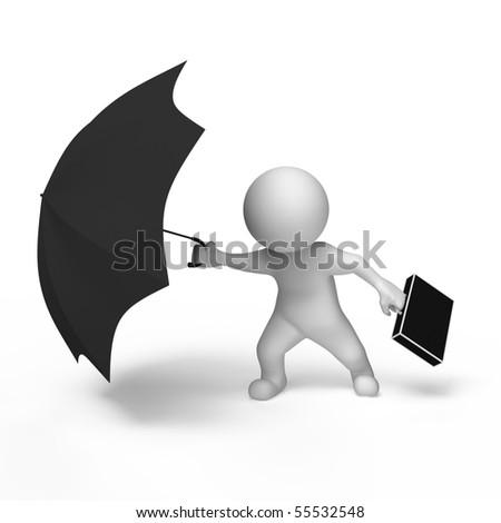 person under the protection umbrella - stock photo