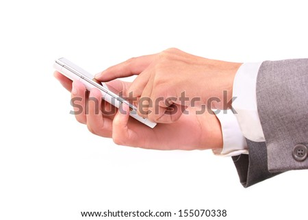 person use smartphone isolated on white background - stock photo