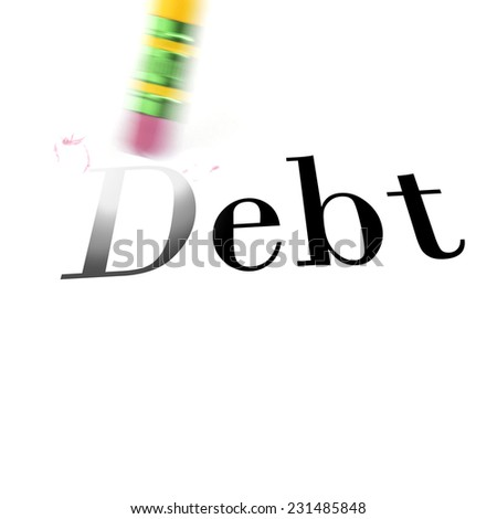 Person using a pencil eraser to erase Debt from their life so they can start new - stock photo