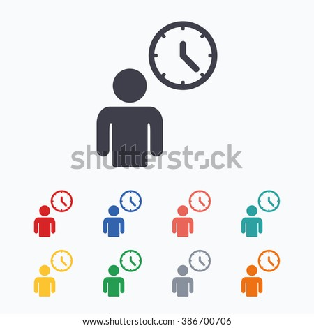 Person waiting sign icon time symbol stock illustration 386700706 time symbol queue colored flat icons on white background ccuart Images