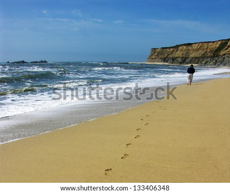 person walking on beach in california - stock photo