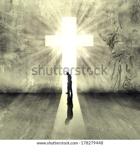 person walking to heaven gate - stock photo