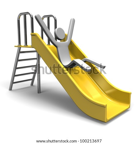 Person Who Is Playing At A Slide