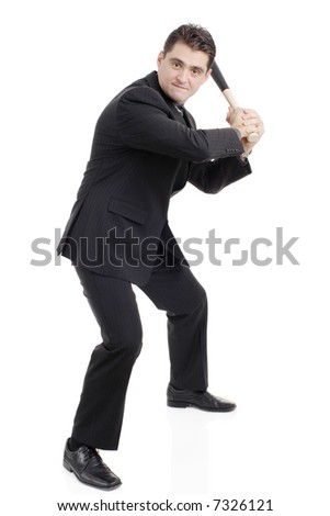 Person with a baseball bat preparing to strike - stock photo