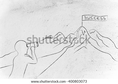 person with binoculars looking at the path to reach a Success banner on top of a mountain