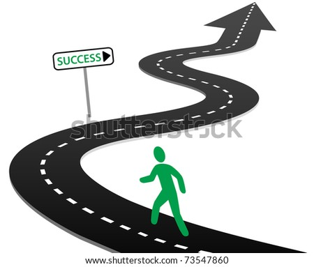 Person with initiative to begin a journey on curvy highway to success and bright future - stock photo