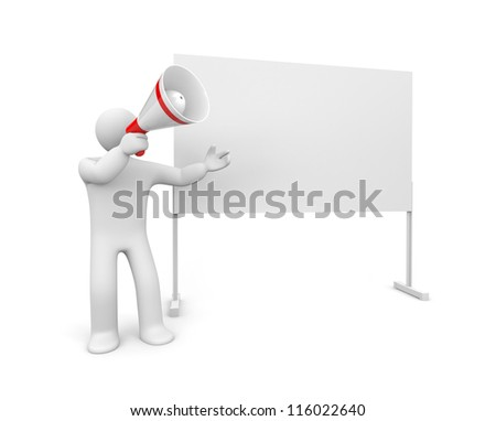 Person with megaphone and whiteboard - stock photo