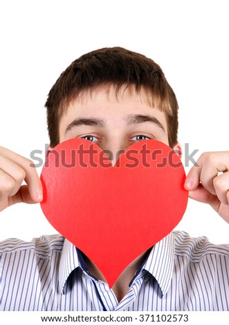 Person with Red Heart Shape on the White Background