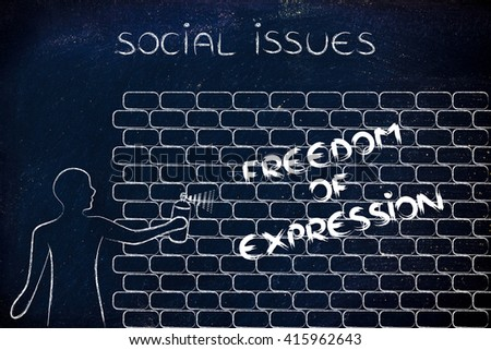 Person spray paint writing word freedom stock illustration 415962643 person with spray paint writing the word freedom of expression as wall graffiti social issues ccuart Image collections