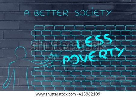Person spray paint writing word less stock illustration 415962109 person with spray paint writing the word less poverty as wall graffiti a better society ccuart Image collections