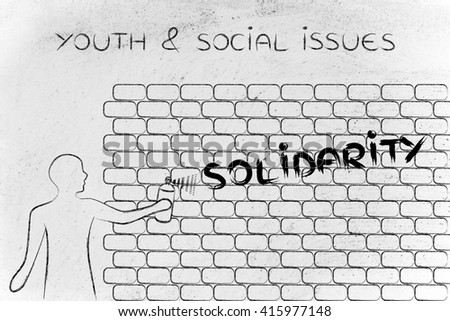 Person spray paint writing word less stock illustration 415962085 person with spray paint writing the word solidarity as wall graffiti youth social issues ccuart Image collections