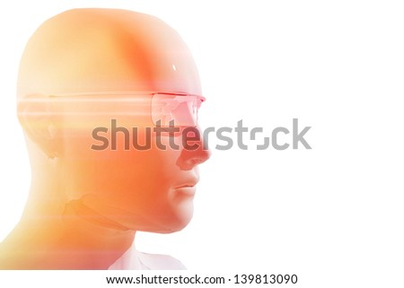 Person with virtual reality glasses - stock photo