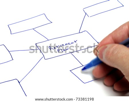 Person writing notes on paper about plans for investments - stock photo