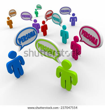 Persona word in speech bubbles over customer heads to illustrate client or buyer information or profiles in business prospecting - stock photo