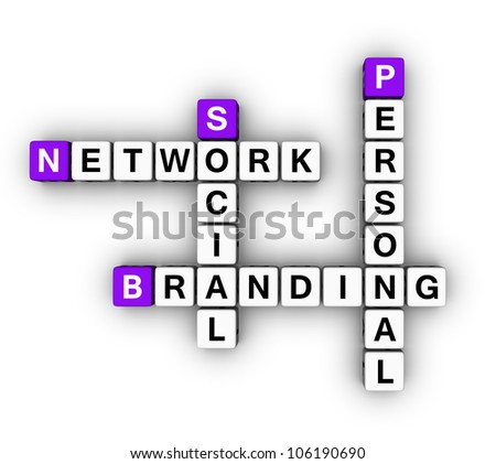 Personal Branding Social Network (cubes crossword series) - stock photo