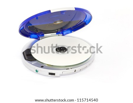 Personal CD player. Old portable cd player with open blue cover; cd inside, isolated on a white background. - stock photo
