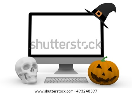 Personal computer with a witch hat an skull and an scary halloween pumpkin. Halloween technology and on line sales concept. 3d illustration, 3d rendering